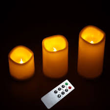 3pcs flameless remote control led candle light festival bedroom
