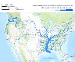 Great Lakes North America Map by Rivers In The Continental United States Drawn With Linewidth
