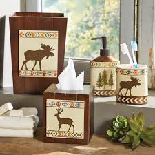 marvelous rustic moose bear bathroom accessories in decor home