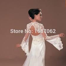 Wedding Dress Jackets Ivory Trumpet Style Long Sleeves Lace Bolero Brides Appliques