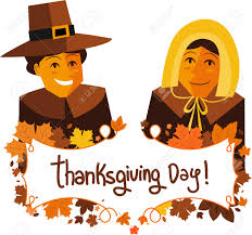 thanksgiving day banner with pilgrims royalty free cliparts