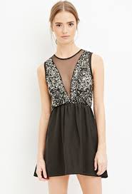 fit and flare dress forever 21 forever 21 sequin fit and flare dress in black lyst
