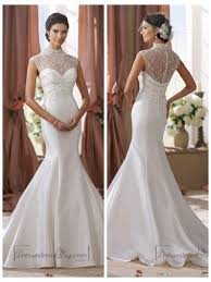 illusion neckline wedding dress high beaded illusion neckline mermaid wedding dress 2450060