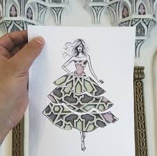 fashion cut out sketches completed using skies and sceneries 4