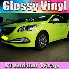 volkswagen kuning movie fluorescent yellow glossy car wrap film with air bubble free shiny
