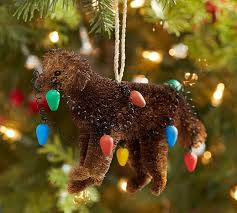 bottlebrush chocolate lab with lights ornament benefiting give a