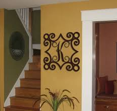 iron scroll wall art single metal initial vine monogram with wrought iron inspired