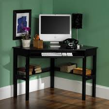 black high gloss polished oak wood corner computer desk with