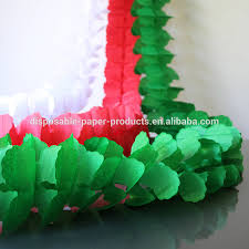 green red white paper tissue christmas garland decorations