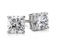 men diamond earrings cushion diamond stud earrings in 14k white gold 3 4 ct tw