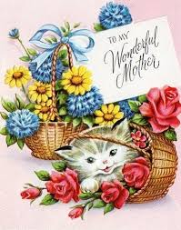 mother u0027s day kitten with baskets of flowers paper pinterest