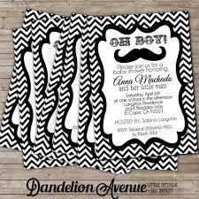 mustache baby shower invitations black mustache baby shower invitation dandelion avenue