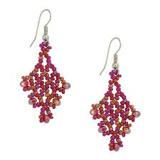 pink earrings beaded earrings magenta pink jj caprices
