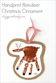 handprint reindeer ornament craft for