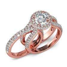 set rings round images Rose gold tone halo round cut sterling silver ring set jeulia jpg