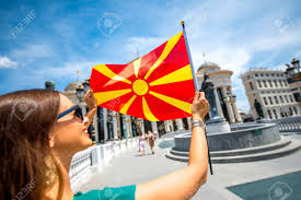 Macedonian Flag Woman With Macedonian Flag In Skopje City Center Promoting