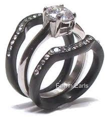 matching titanium wedding bands his hers cz black stainless titanium wedding ring set edwin