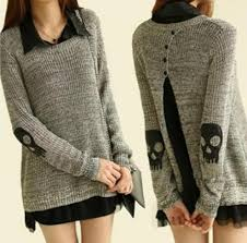 baggy sweaters fashion winter patch sweater baggy skull sweater