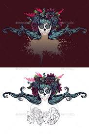 sugar skull with blue hair in flower crown by annartshock