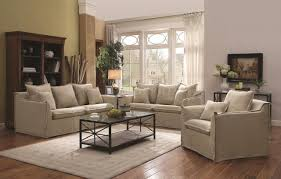 Microfiber Living Room Set Cooney 505801 Sofa In Beige Fabric By Coaster W Options
