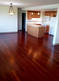 beautiful bamboo flooring with a cherry stain open floor plan