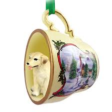 yellow lab ornament figurine teacup