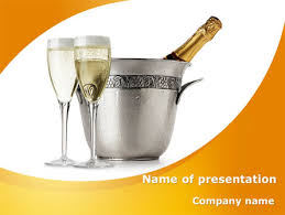 champagne in a silver bucket powerpoint template backgrounds