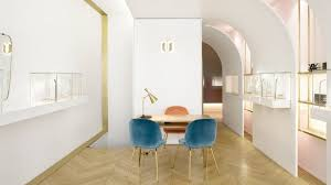 interior design soft soft hued jewellery store designed for owner with love of gold and pink