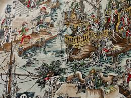 pirate fabric skeleton fabric pirate ship fabric designer fabric