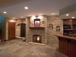 images of basements with stone walls this modern basement has