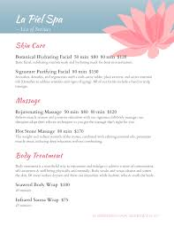 Hair Salon Price List Template Free Spa And Salon Menu Designs From Imenupro More Than Just Templates