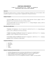 resume format for graduates new resume format for mba student by chetan vibhandik