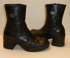 womens harley boots size 9 harley davidson boots black leather zip up chunky heel