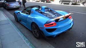 baby blue porsche 918 spyder in la straight pipe carrera gt