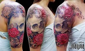 best skull flowers tattoos arm 5375917 top tattoos