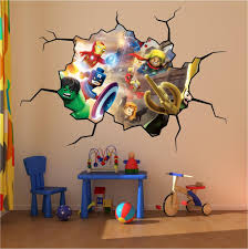 space wall stickers outer space theme decals space wall mural lego super heroes cracked wall full colour print wall art sticker decal mural