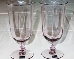 Fine Crystal 2 Tiffin Franciscan Depression Glass Pink Swirl Goblets Pair