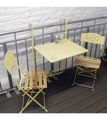 tavolino da terrazzo tavolo e sedie pieghevoli da balcone cliff di my balconia giallo