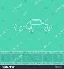 car emits carbon dioxide white outline stock vector 332219738
