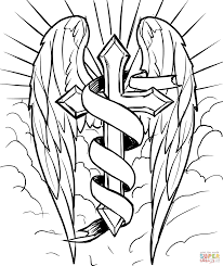 cross coloring pages lovely cross with wings in the clouds