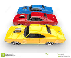 Cool Muscle Cars - cool muscle cars primary colors top side view stock