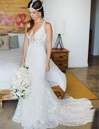 buy mermaid style lace v neck court train beach wedding dress