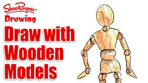 how to draw with wooden mannequin models