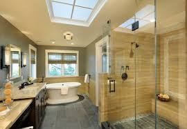 Glass Shower Bathroom Bathroom Design Modern Bathroom In Yellow And Gray With Spacious