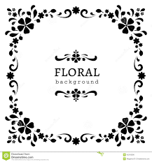 Floral Decor Black And White Square Frame Stock Vector Image 42243590