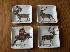 Pottery Barn Christmas Decorations Ebay by 4 Pottery Barn Silly Stag Salad Plates Set Of Christmas Decor Ebay