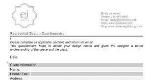 Home Design Questionnaire For Clients Dallas Blog Material Girls Dallas Interior Design