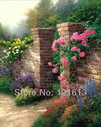 thomas kinkade original flower oil painting the rose garden art