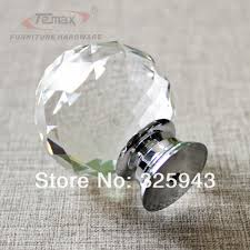 Bedroom Furniture Handles And Knobs 2x40mm Clear Round Glass Cabinet Drawer Crystal Knobs And Handles