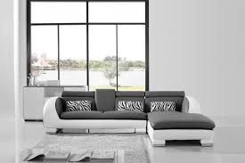 Steel Living Room Furniture L Shaped Grey Leather Sectional With White Leather Based